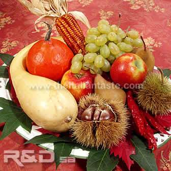 fall decoration with fresh fruit and vegetables