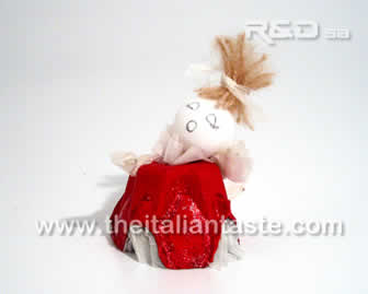 little angel dressed in red and white, handmade angel