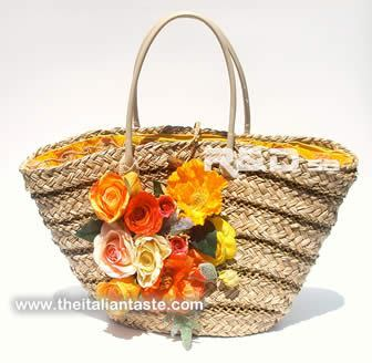 new straw bag, Italy-style decorated with silk flowers and lined with fabric