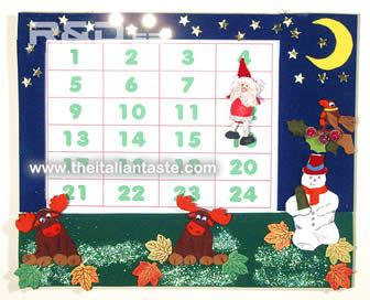 unusual, handmade Advent calendar with Christmas characters