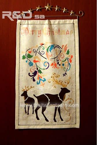 Linen panel with Christmas decorations painted by hand, precious home xmas ornament