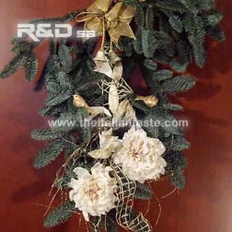 Decorated pine-tree branch for Xmas door