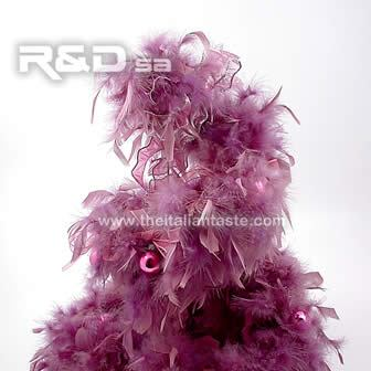 Trendy Christmas tree made with purple  feathers