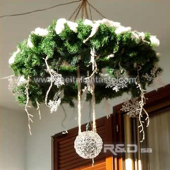 outdoor Christmmas wreath hanging from the ceiling