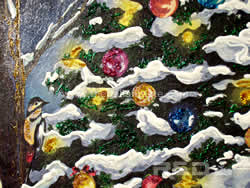 detail of Christmas tree with birds