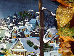 detail of the first panel with houses and snow