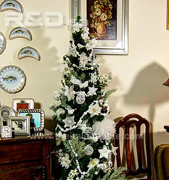 Example of Christmas tree decorated with white ornaments of different kind