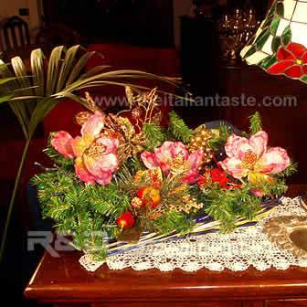 Rustic basket decorated with Christmas ornaments