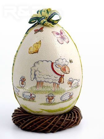 Decoupage spring egg to decorate home at Easter
