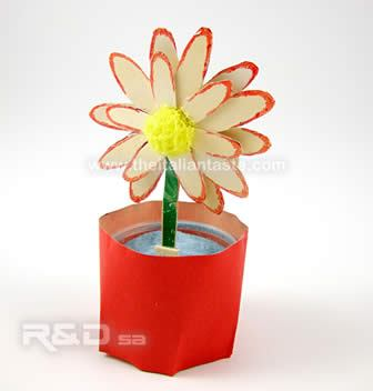 spring flower made with recyclable materials, no cost