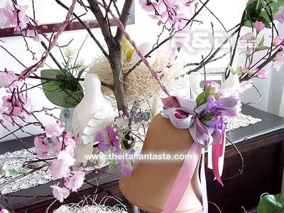 Detail of leafless branch decorated for Easter