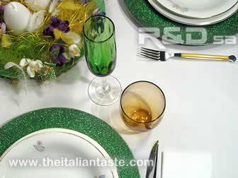 Detail of a table set for spring ceremonies and Easter
