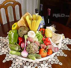 Food arrangement for an Italian style  table