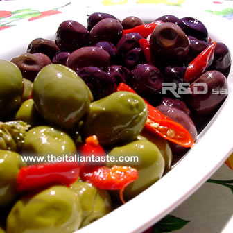 dressed green and black olives