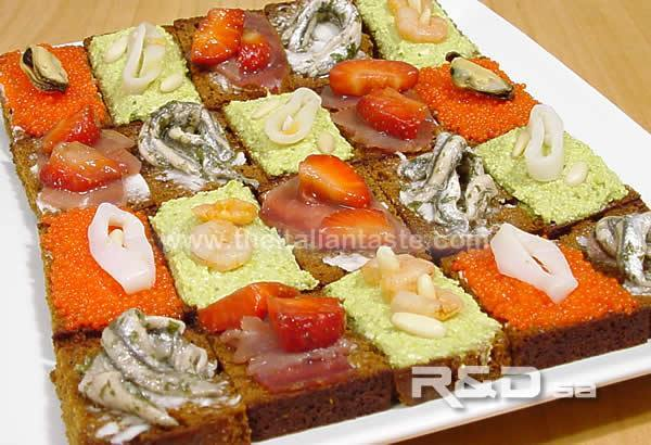 Assorted canap s with fish for Italian canape ideas
