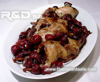 quails with cherries