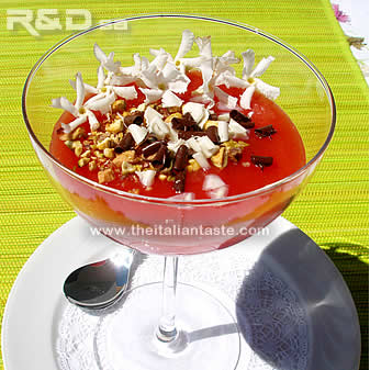 watermelon dessert called in Italy gelo di melone or gelo di mellone served in a glass and garnished with jasmin flowers