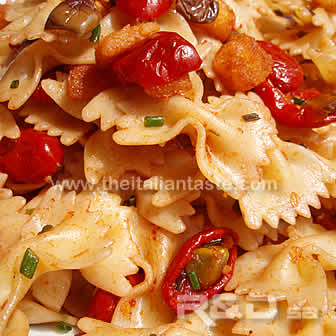 pasta tossed with tomato sauce