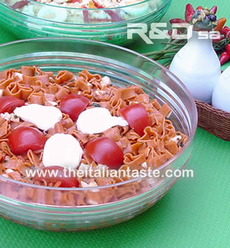 pasta salad - the image shows chilli pasta dressed with tomato and mozzarella