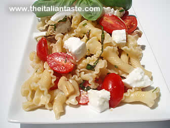 Italian pasta salad with mozzarella, tomatoes and basil