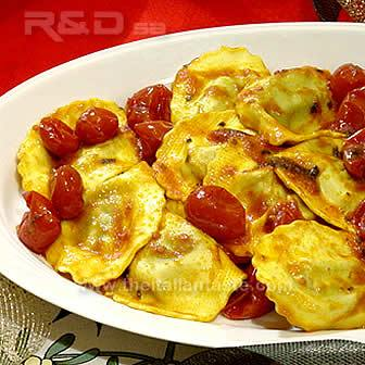 Pumpkin ravioli in the Holiday table