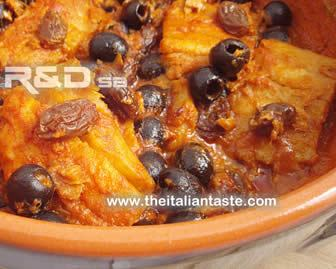 Stewed salt cod with black olives, sultanas, tomato paste and onions