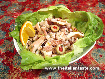 Seafood salad made with octopus, squids, clams and shrimps
