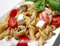 pasta fredda with mozzarella and tomatoes