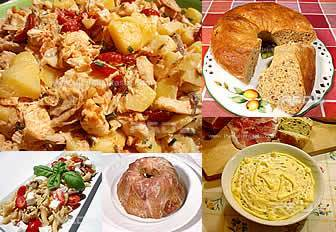 images for celebration menu with pasta salad, baked rice, savory cake and chicken salad