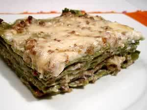 Italian lasagna as people make in Bologna, the photo shows a piece of Bolognese lasagna made with green dough, meat-and-tomato sauce and bechamel sauce