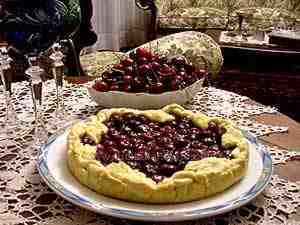 cherry tart in a serving plate