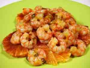 shrimps flavored with red or blood oranges