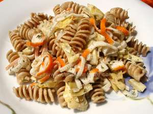 pasta salad made with artichokes and fish - summer dish