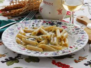 Penne (Italian pasta) with creamy gorgonzola sauce or pasta tossed with white cream