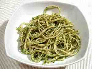 Italian pasta tossed with pesto sauce made with basil, garlic, Parmesan and pecorino cheese