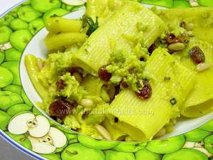 rigatoni tossed with a white sauce made with cauliflower, pine-nuts, sultanas, saffron, onion and anchoviy fillets