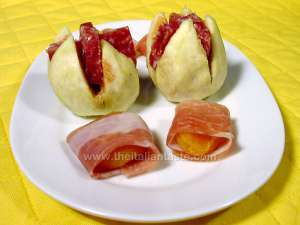 italian antipasto: salami and figs - speck and apricot
