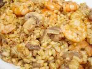 Risotto with assorted mushrooms and king prawns