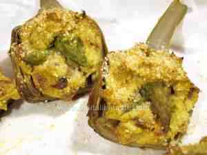 Artichokes stuffed with asparagus and ricotta