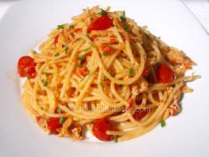 spaghetti tossed with crab sauce