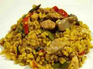 saffron rice with meat and vegetables