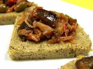 polenta canapes topped with eggplant caponata