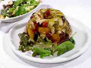 Turkey aspic in platter with green salad