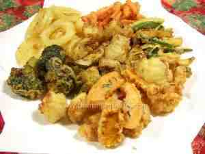 Battered and fried winter vegetables